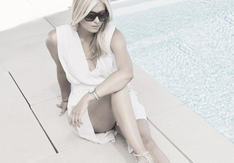 Maria Sharapova poolside in TAG Heuer sunglasses