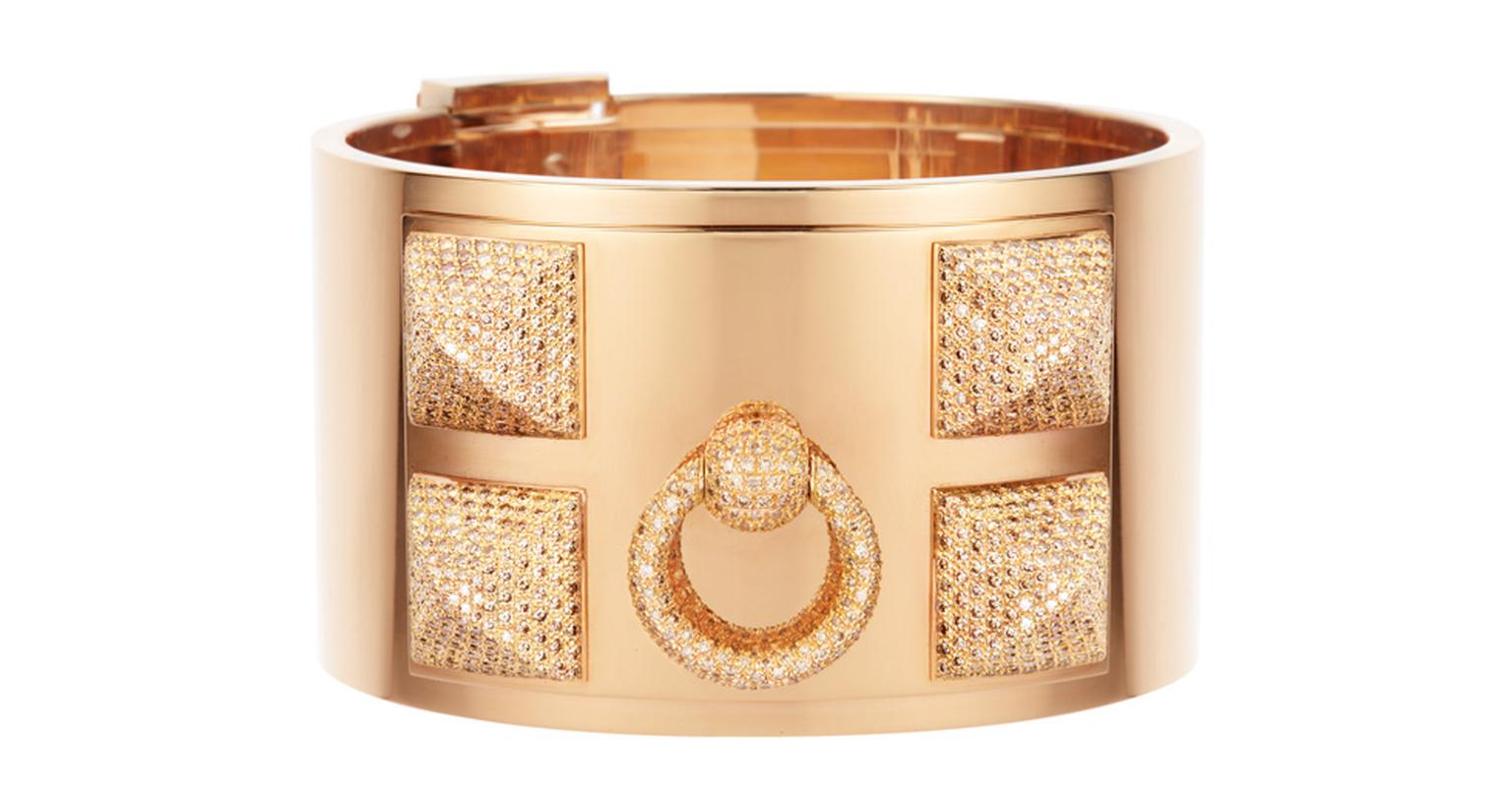 Hermès Collier de Chien gold and diamond cuff