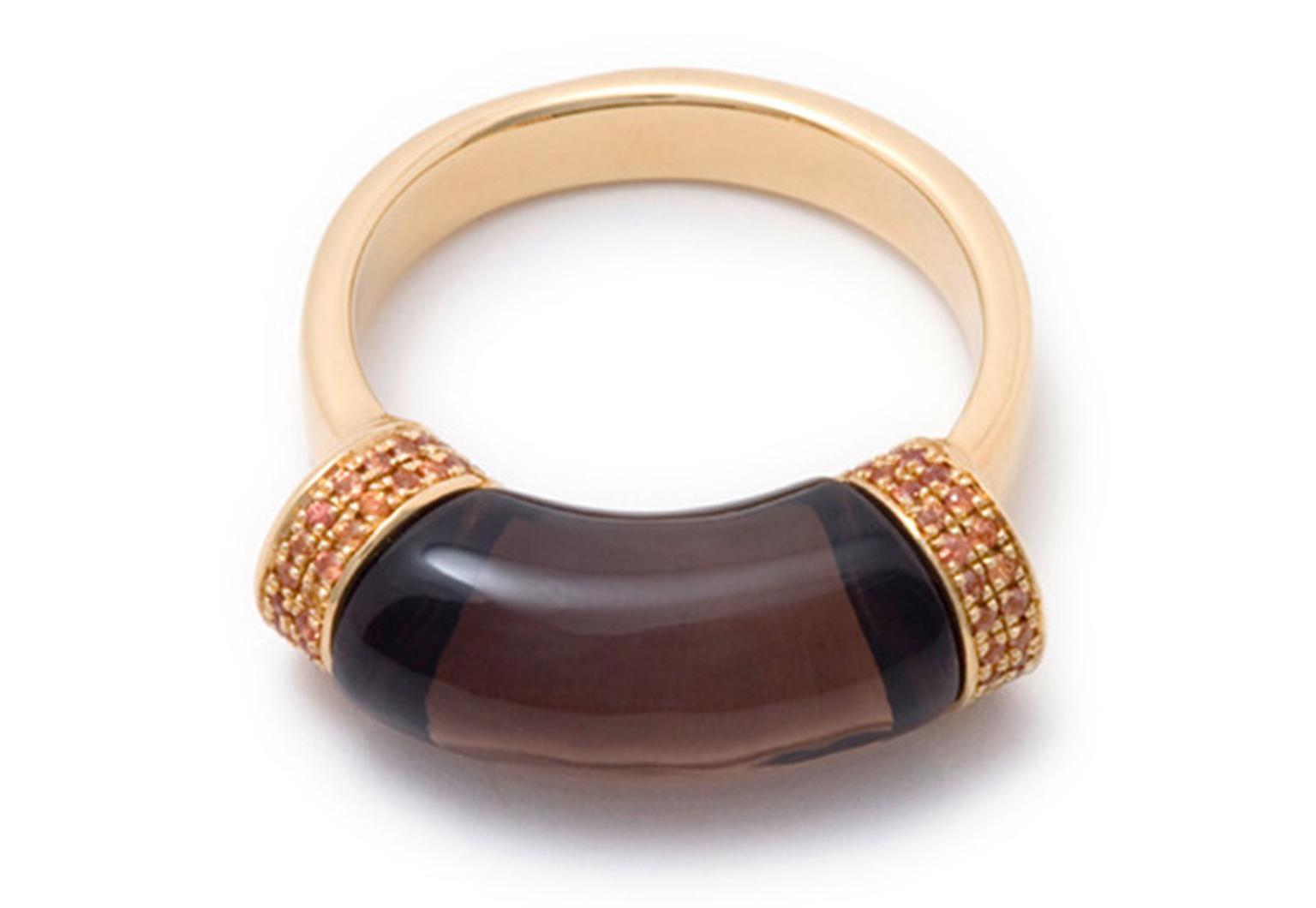 Hannah Martin Solid Shackle ring with smoky topaz and orange sapphires