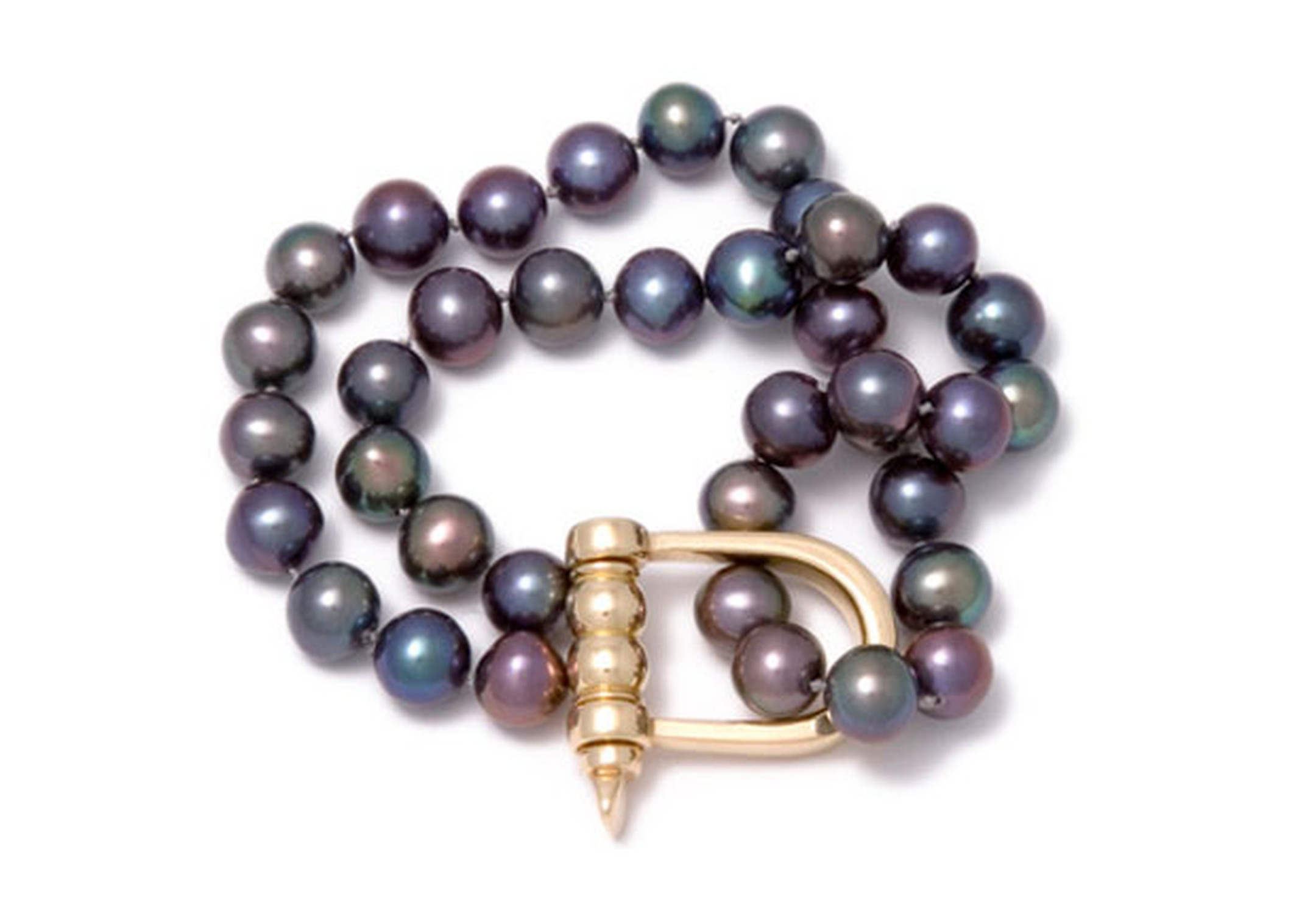 Gold shackle and double strand of Tahitian pearl bracelet