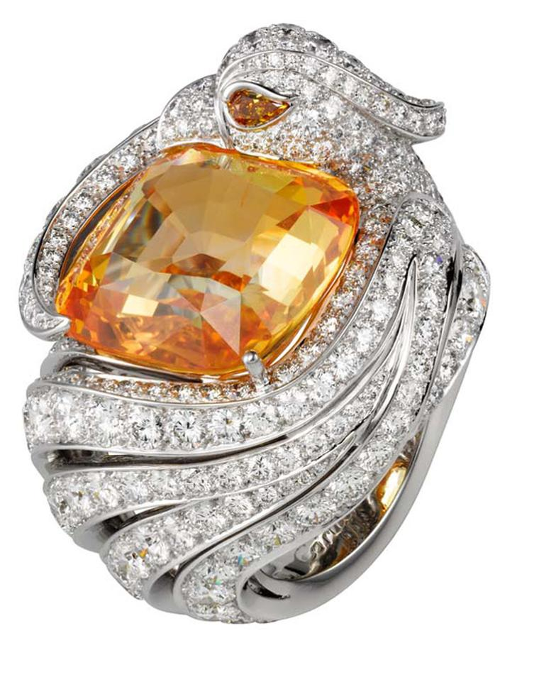 Cartier Bird Ring with diamons and yellow sapphire