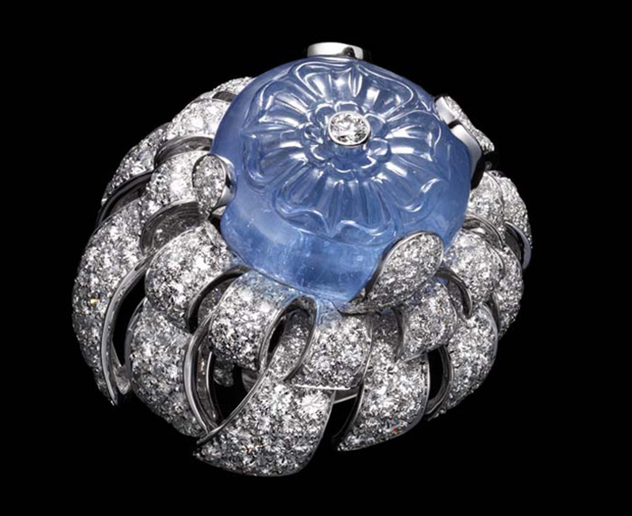 Cartier carved sapphire and diamond ring evoking water