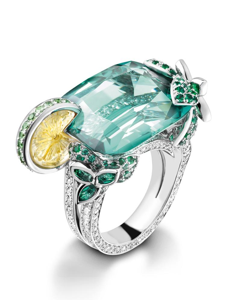 Piaget Mojito inspired cocktail ring with green tourmaline, emeralds and carved citrine