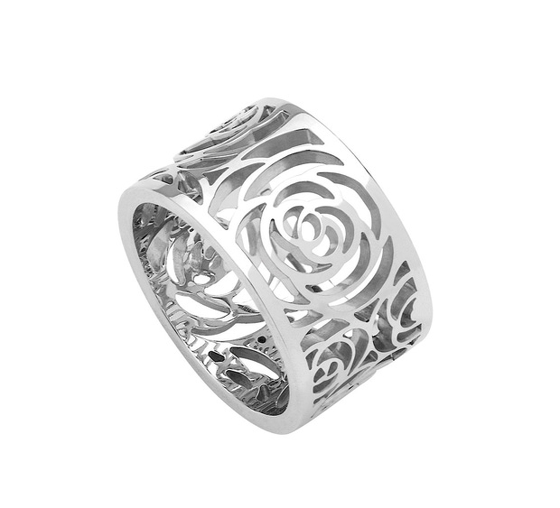 Chanel Camelia white gold Ajoure ring