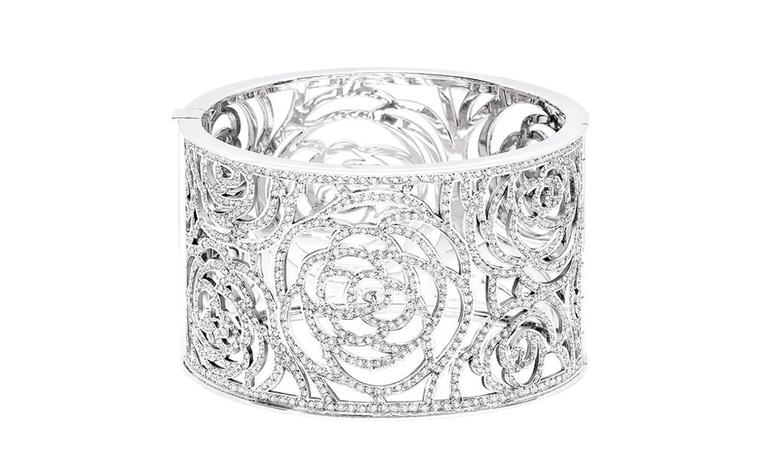 Chanel Camelia diamond and white gold cuff