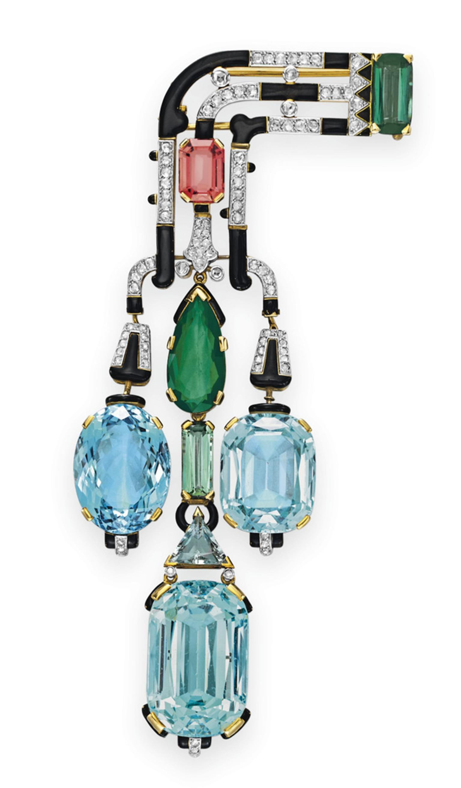 Cartier Art Deco aquamarine, tourmaline, diamond and enamel brooch