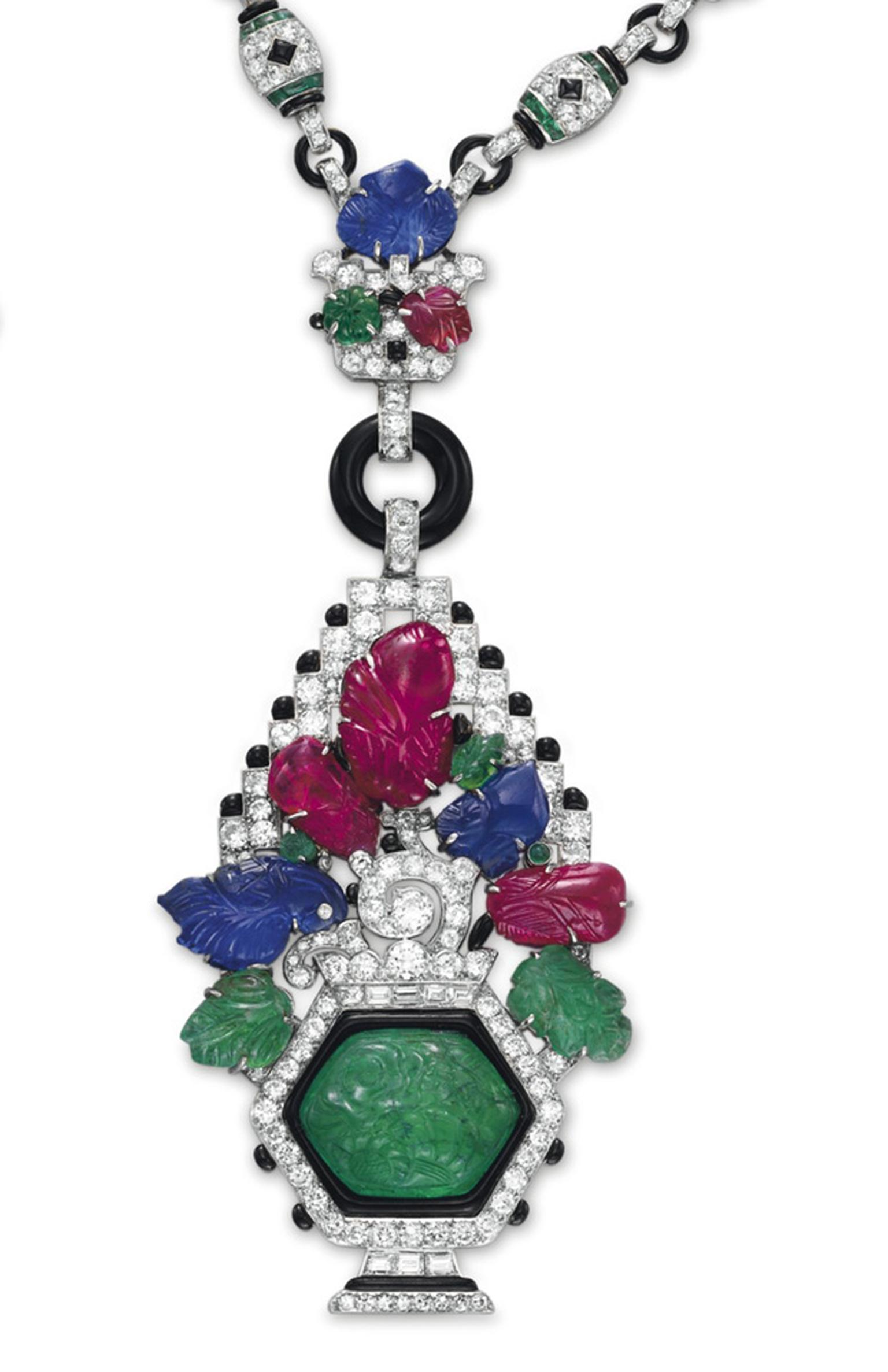 Maboussin Art Deco diamond, multi-gem and enamel sautoir Estimate $800,000-$1,200,000