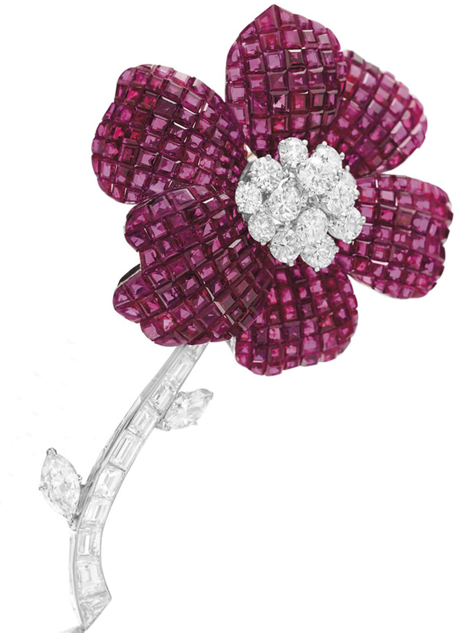 Van Cleef & Arpels Mystery Set ruby and diamond Pavot flower brooch circa 1974