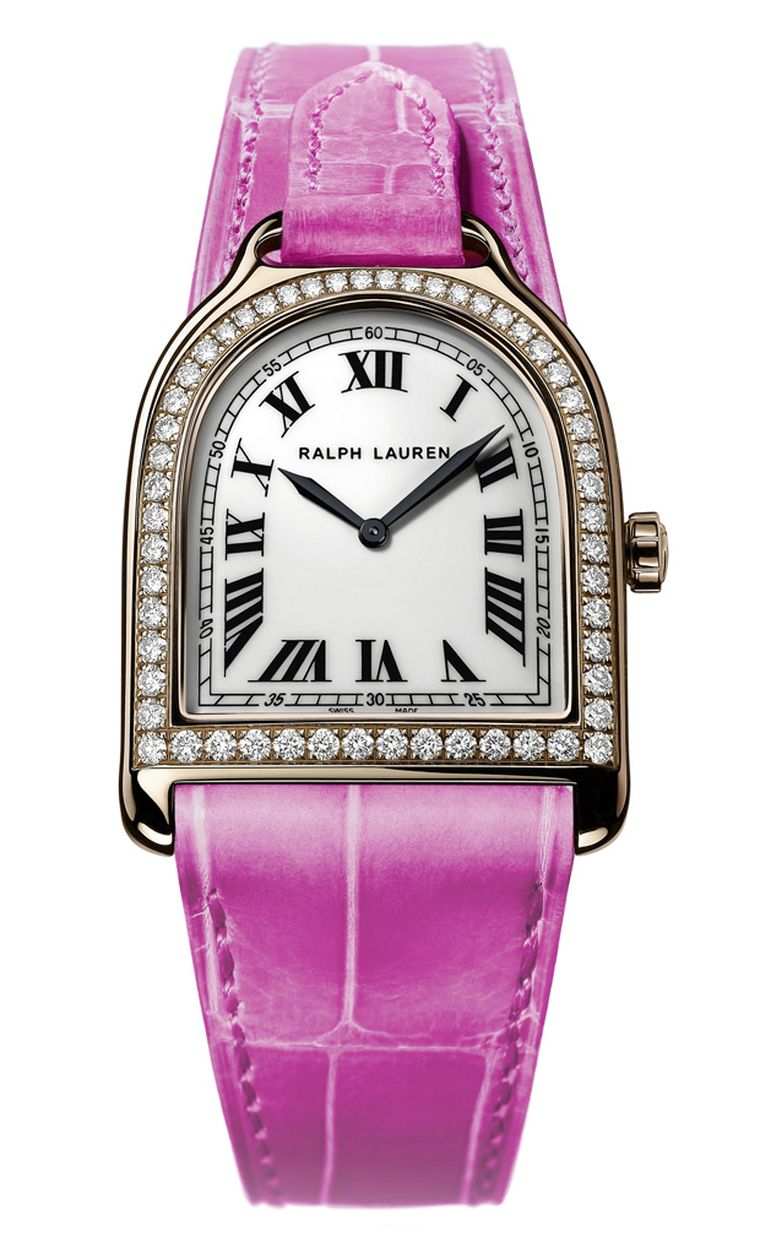 Ralph Lauren Pink Pony limited edition Stirrup watch in  gold with diamonds