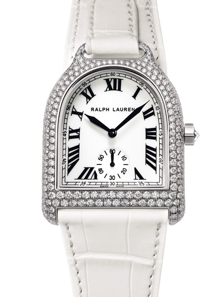 Ralph Lauren Stirrup watch in white gold with full pave of diamonds