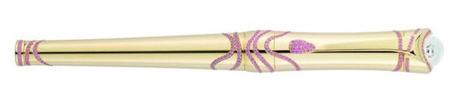 Montblanc Etoile pen in yellow gold with pink sapphires