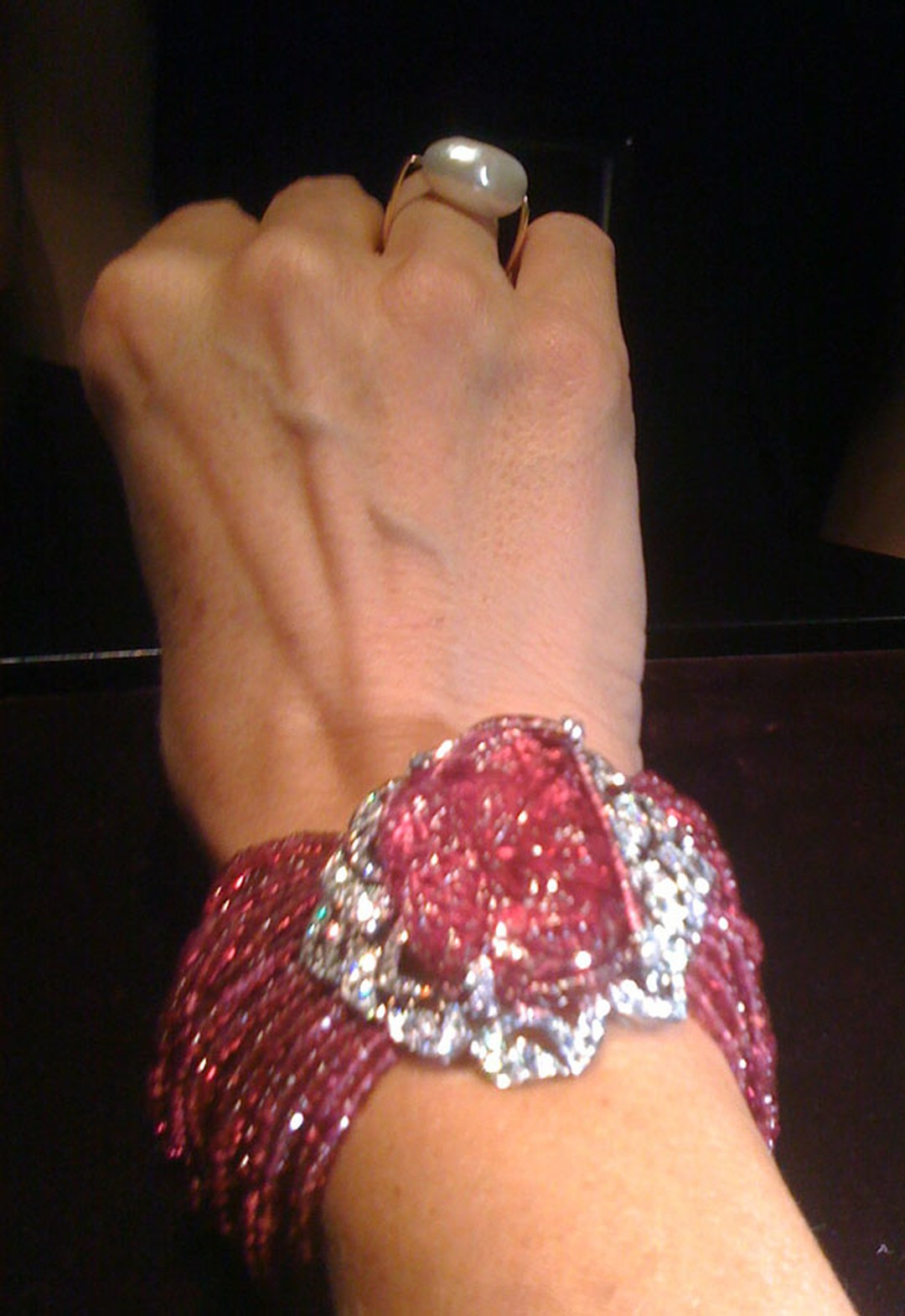 Cartier's carved spinel watch (dial under the stone) on my wrist