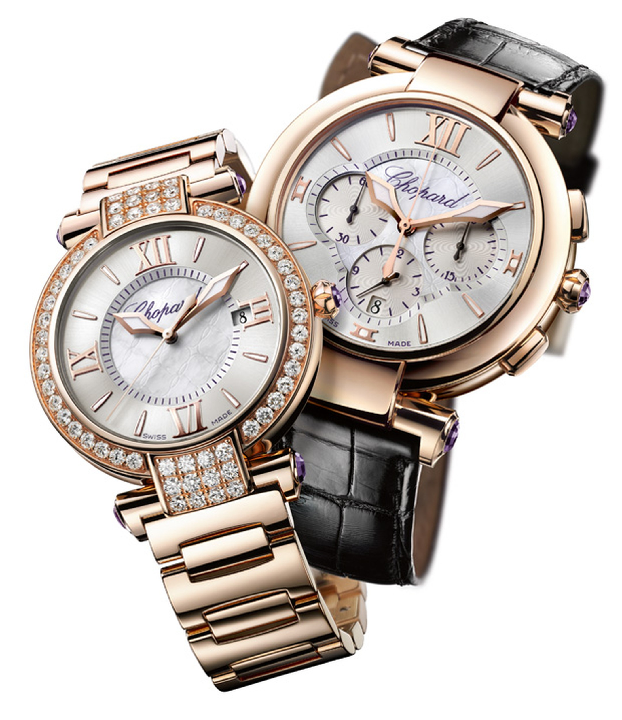 Chopard Imperiale rose gold and diamond and automatic chronograph models