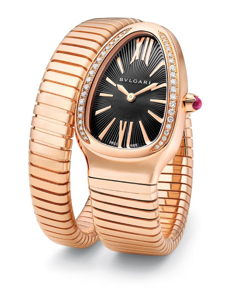 Bulgari Serpenti single coil with diamond bezel