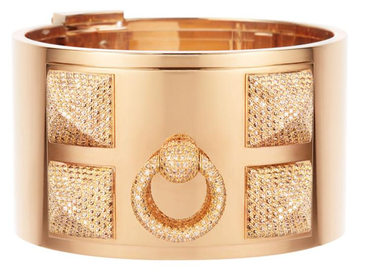 Hermes Collier de Chien cuff in gold with diamonds