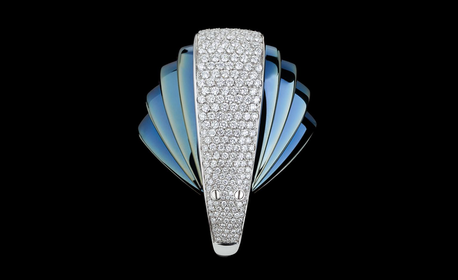 Mattia Cielo Armadillo in blued gold and white gold set with diamonds