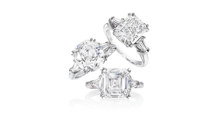 Harry Winston Classic Engagement Rings with Tapered Baguettes and Triangular side stones
