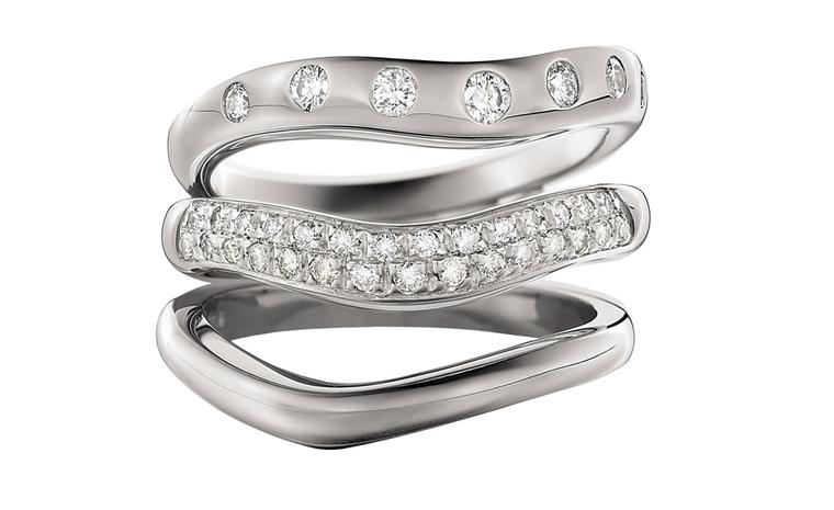Bulgari Corona platinum rings with diamonds, from top down: £1,490, £1,660 & £810