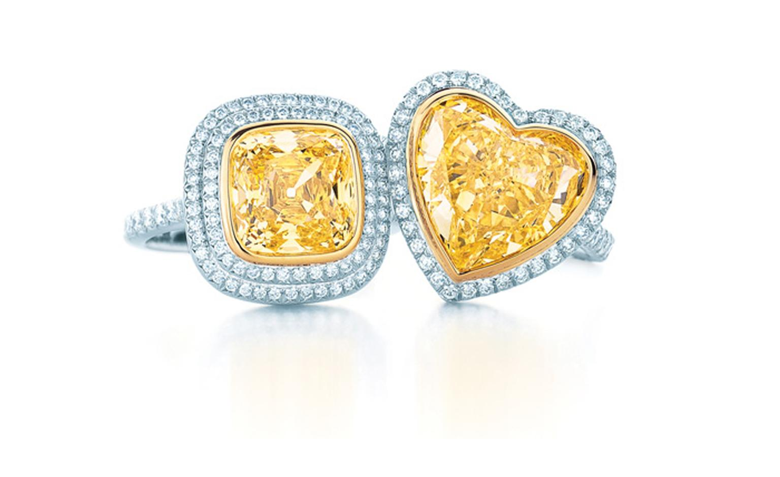 Tiffany & Co, yellow and white diamond rings. Square diamond £45,000 and heart shaped POA.