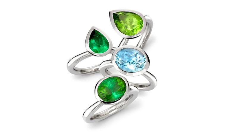 Wright & Teague, Delphi platinum rings: Peridot £1,900, Emerald £5,000, Aquamarine £2,900, Tourmaline £1,500