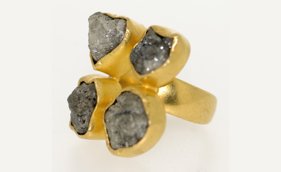 Pippa Small rough cut grey four diamonds ring £4,500