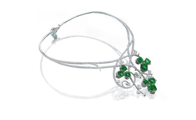 Boodles Iolanthe necklace with diamonds, emeralds and tsavorites created for the launch of the new shop at the Savoy Hotel