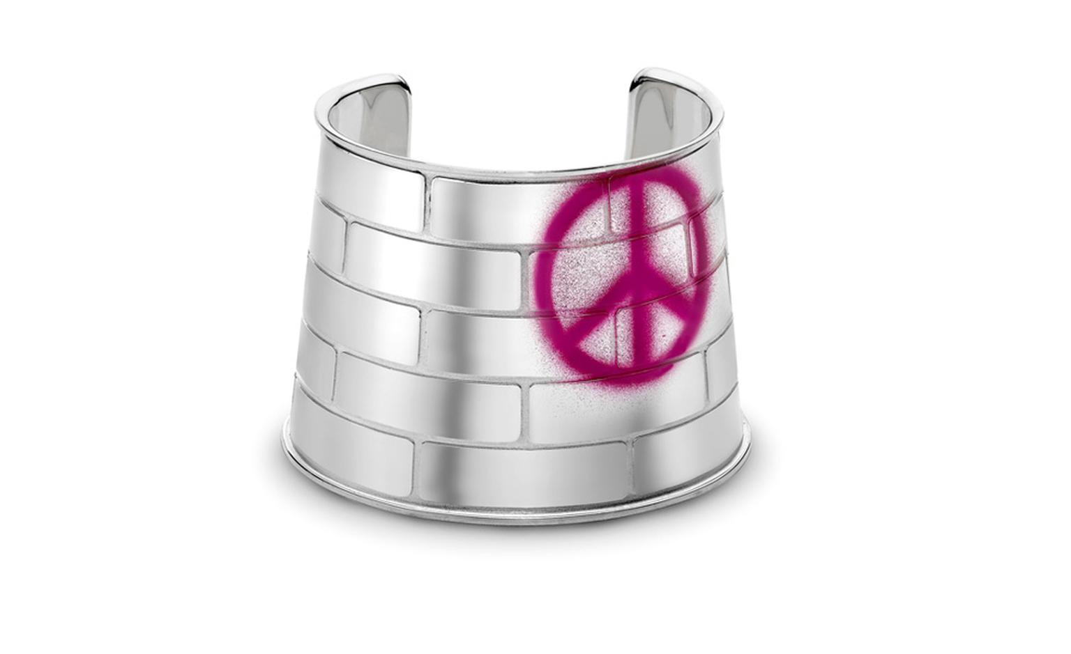 Brick wall cuff with peace sign 'Graffiti' from £825
