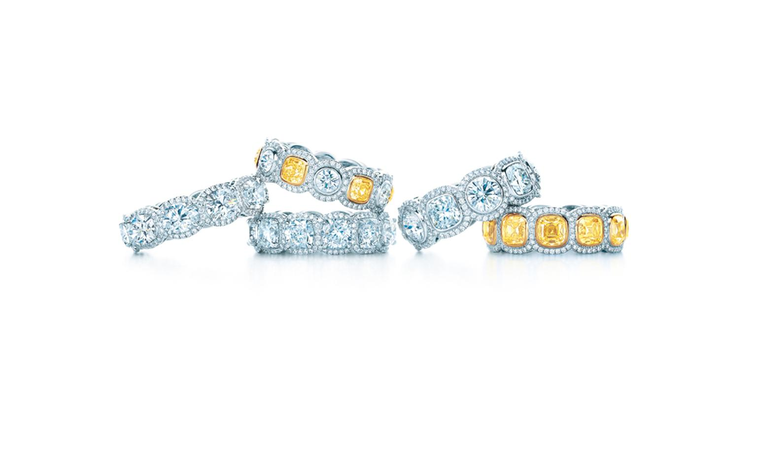 Tiffany & Co yellow and white diamond band rings:  £41,700, £19,700, £34,100, £49,300, £39,500