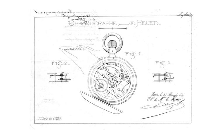 Original drawings of the patent for the oscillating pinion in the Calibre 1887 pocket watch