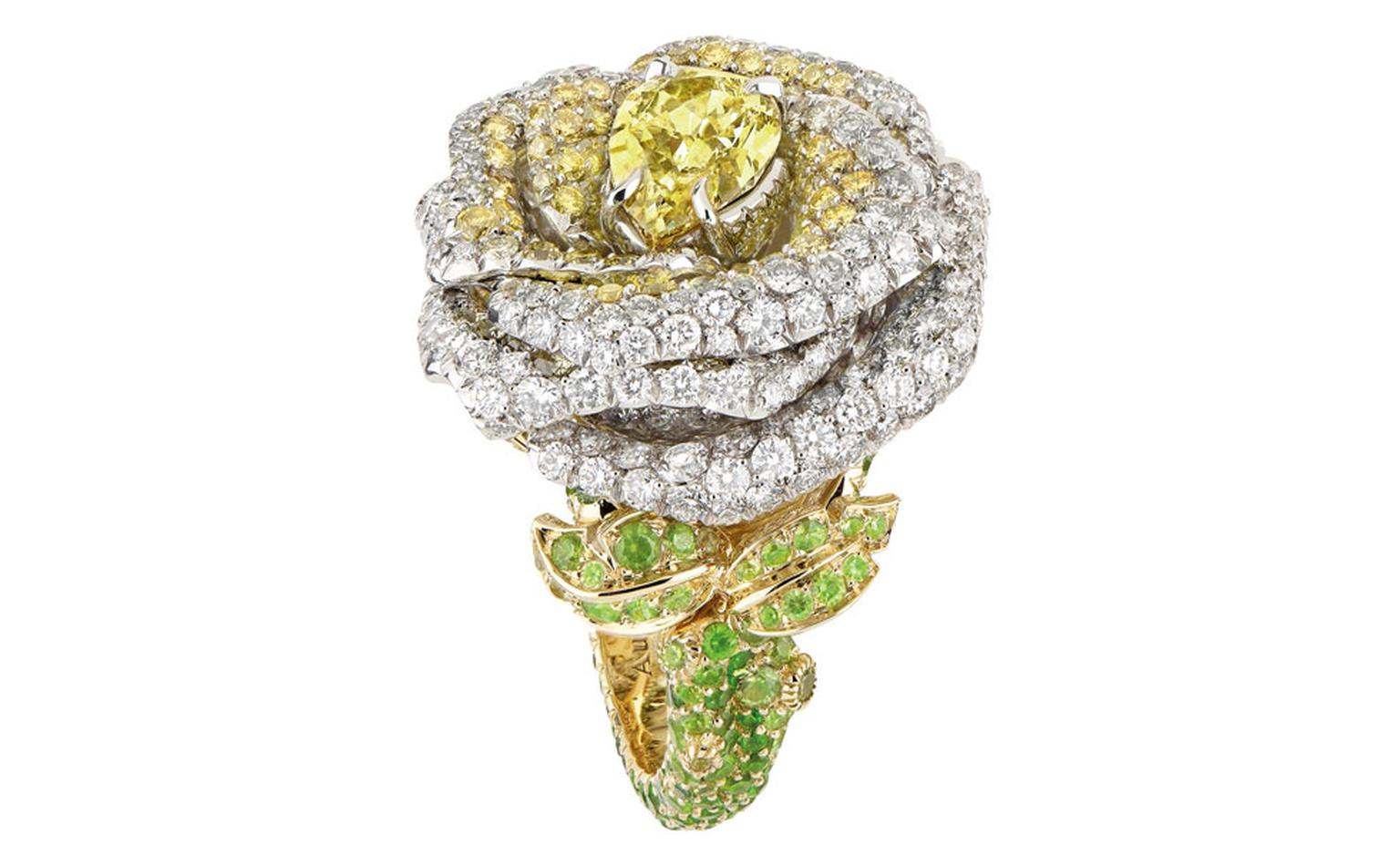 Dior, Rose Dior Bagatelle ring with yellow diamonds finds a new home at 8 Place Vendôme
