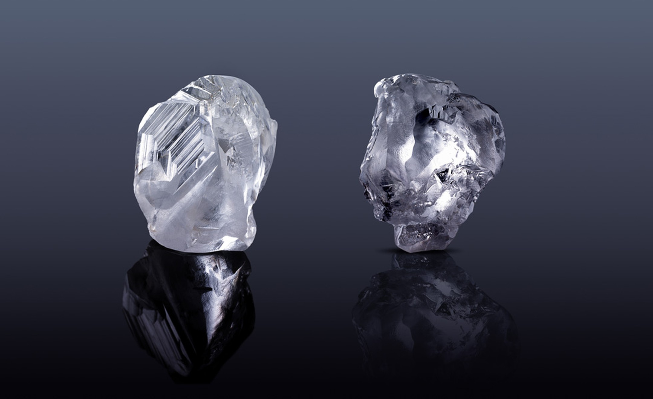 The two rough diamonds of 184-carats and 196-carats that Laurence Graff acquired at tender in Antwerp on the 24 November 2010 for $22,736,360