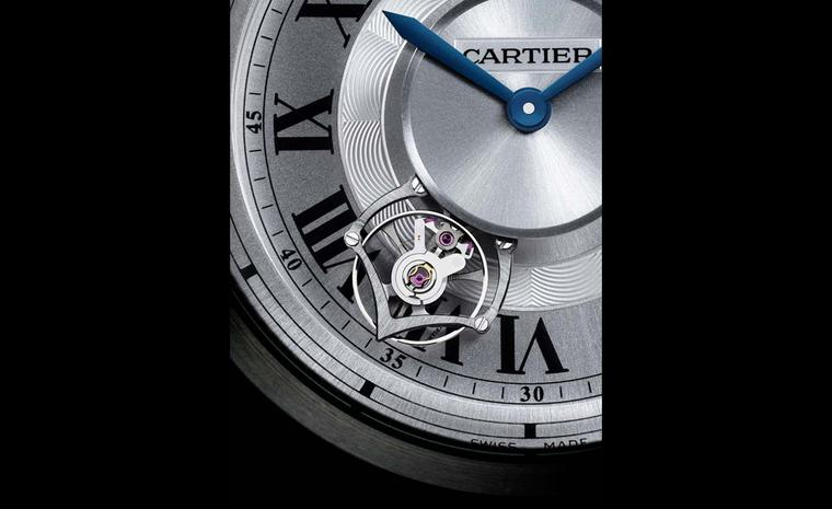 Detail of the tourbillon that rotates around the dial of Cartier's Calibre Astrotourbillon, movement 9451 MC photo: Laziz Hamani Cartier 2010