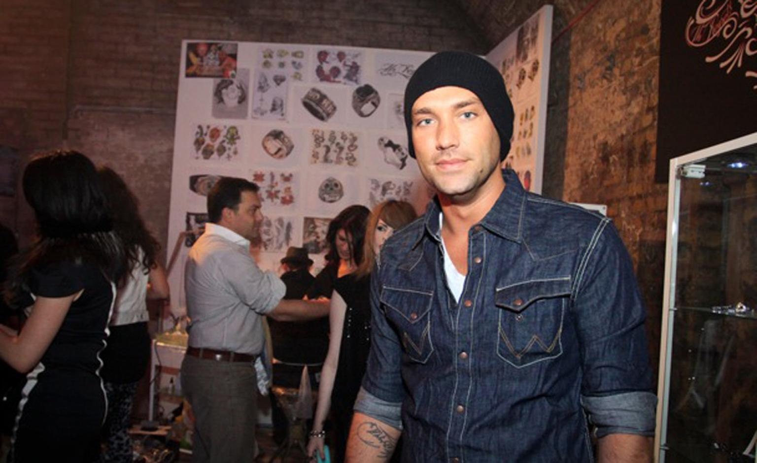 Calum Best at the tattoo parlour at the launch of Stephen Webster's Seven Deadly Sin's collection