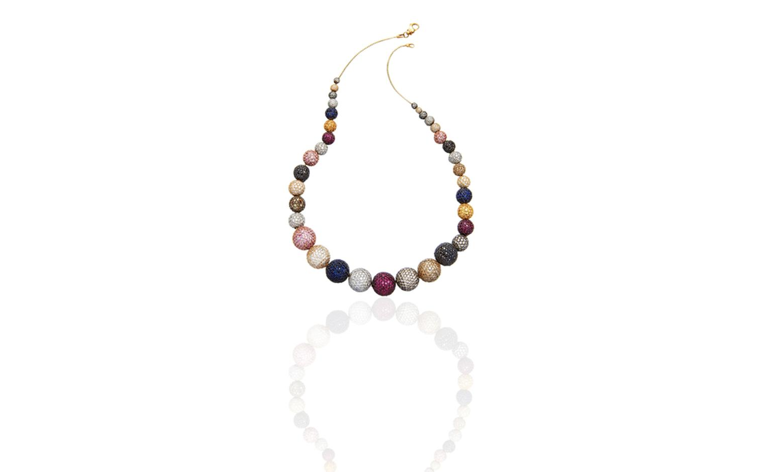 Astley Clarke Takara Naiya Multi Ball necklace in white and yellow gold with diamonds and sapphires, £60,000
