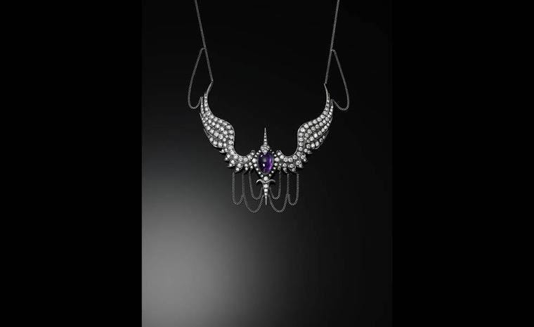 "Jessica McCormack ""Take me under your wings' necklace with central cabochon cut amethyst surrounded by diamonds in yellow gold and oxidised silver, £59,840"