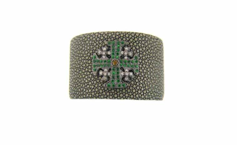 Loree Rodkin shagreen cuff with maltese cross made of tsavorites with grey and yellow diamonds £5,610
