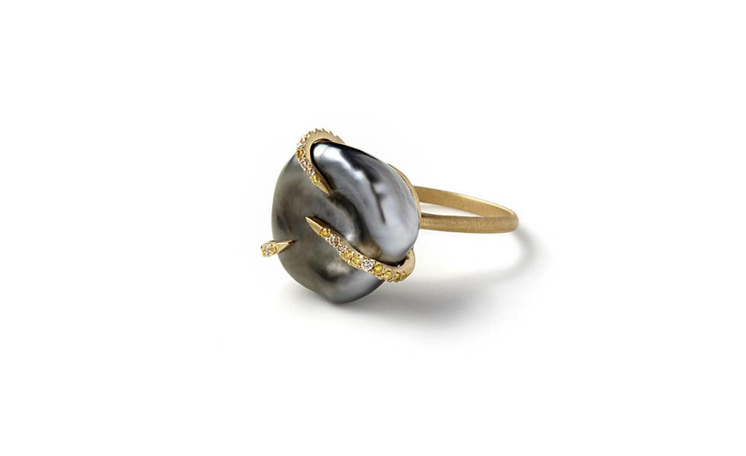 Monique Pean sustainably sourced grey Tahitian pearl ring with yellow gold and diamonds £7,575