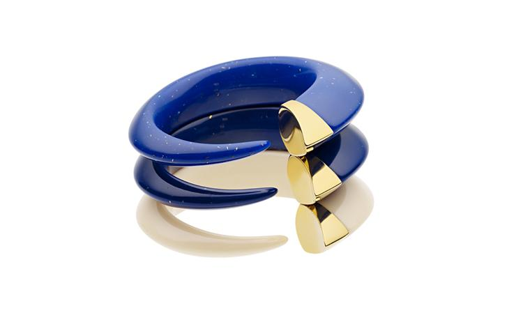 Shaun Leane bangles in ivory and lapis lazuli with gold, £210 each