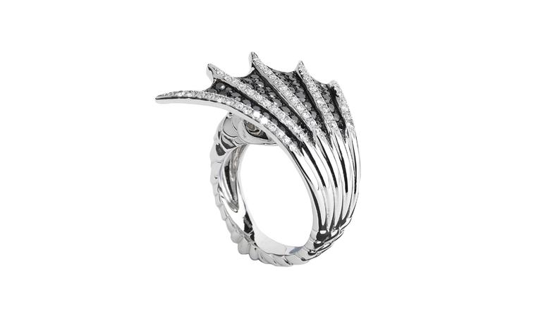 Stephen Webster, Jewels Verne 'Bit on the Side Ring' in white gold with black and white diamonds. £5,900