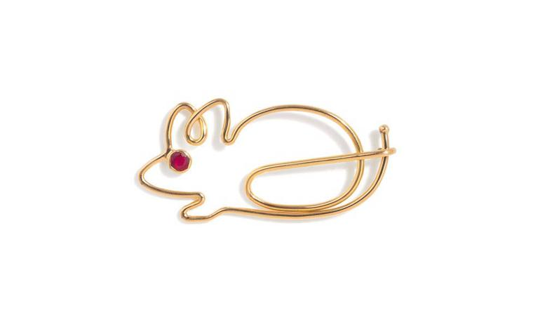 Katie Hillier, yellow gold mouse with claret diamond eye £995