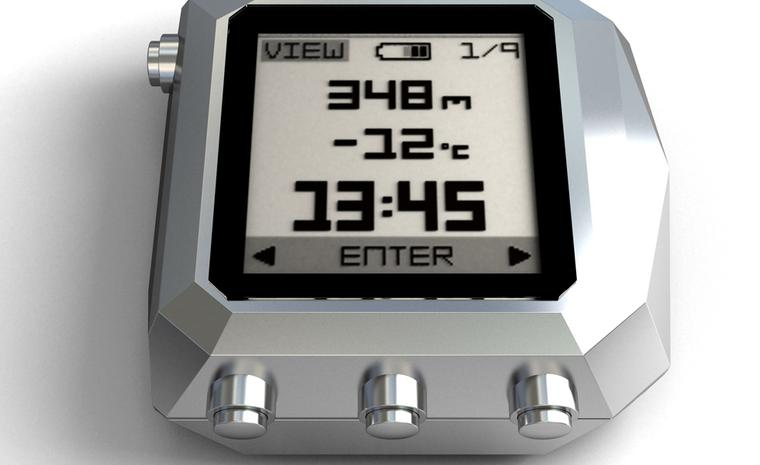 Here is the clever bit: this is the mini computer that clips on top of your watch. The Rock version for alpine sports sells for 990 euros