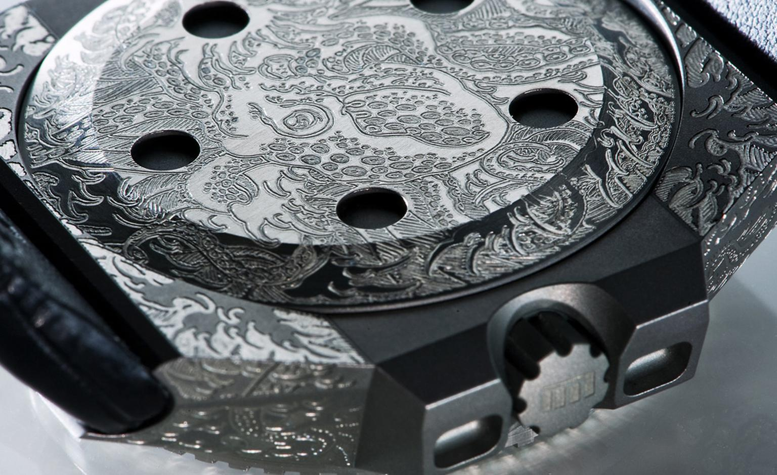 View of the engraved case back of the Oktopus Tattoo that sells for 14,400 euros