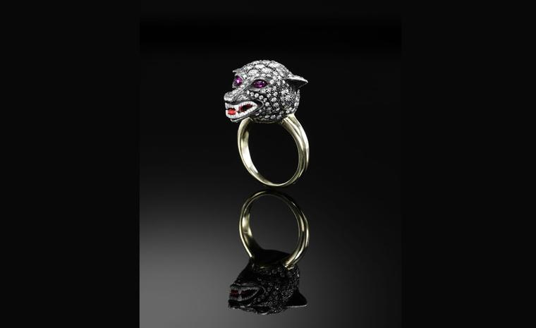 Jessica McCormack, The Cunning Mr Fox diamond ring, diamonds and cabochon ruby eyes, mounted in yellow gold and oxidised silver £21,000