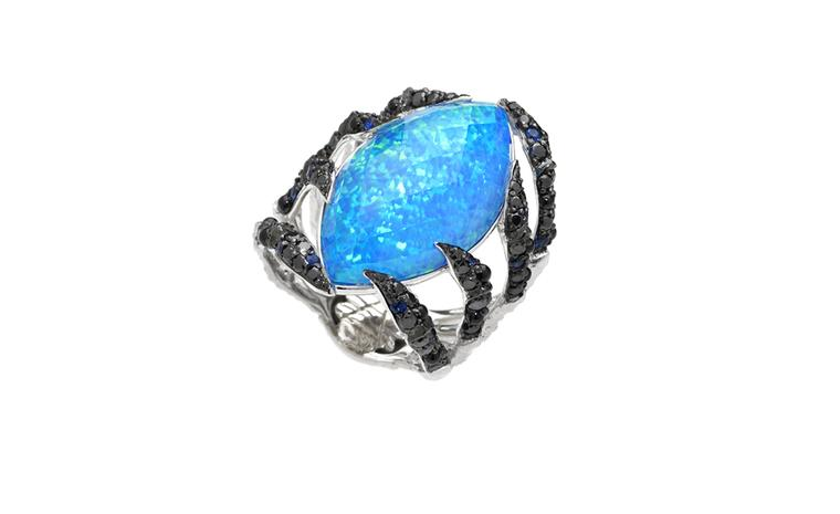 Stephen Webster In Deep Spider Crab Crystal Haze Ring with Black Opal
