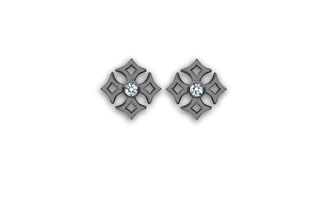 Theo Fennell, Gimlet Earrings, White Gold and Black Rhodium set with Diamond £950
