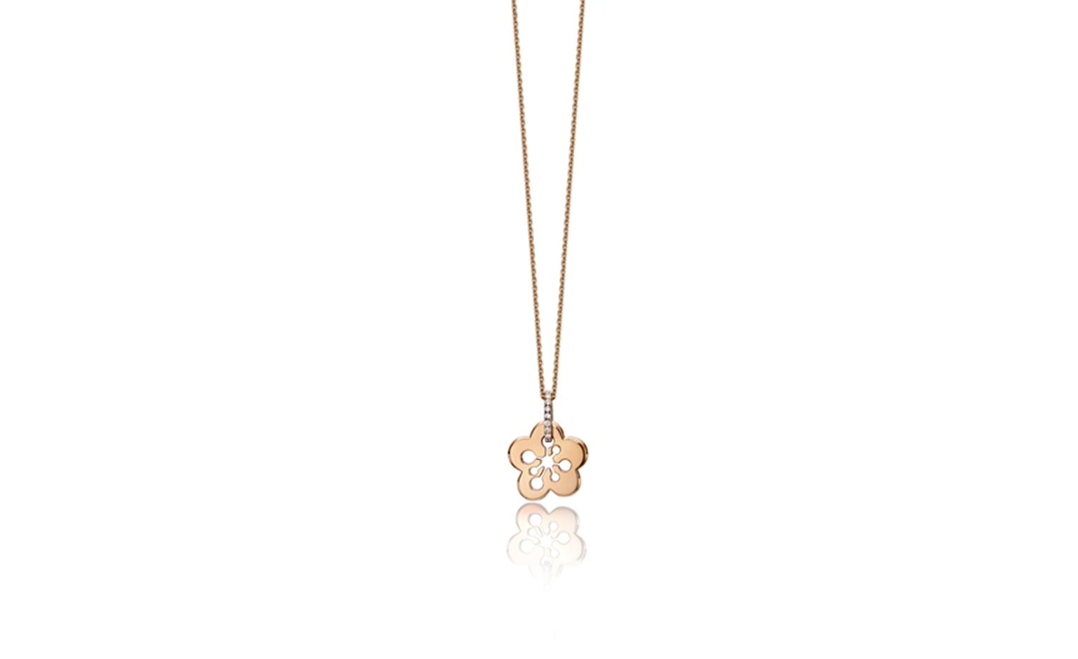 Boodles, rose gold blossom pendant with diamonds £1,100