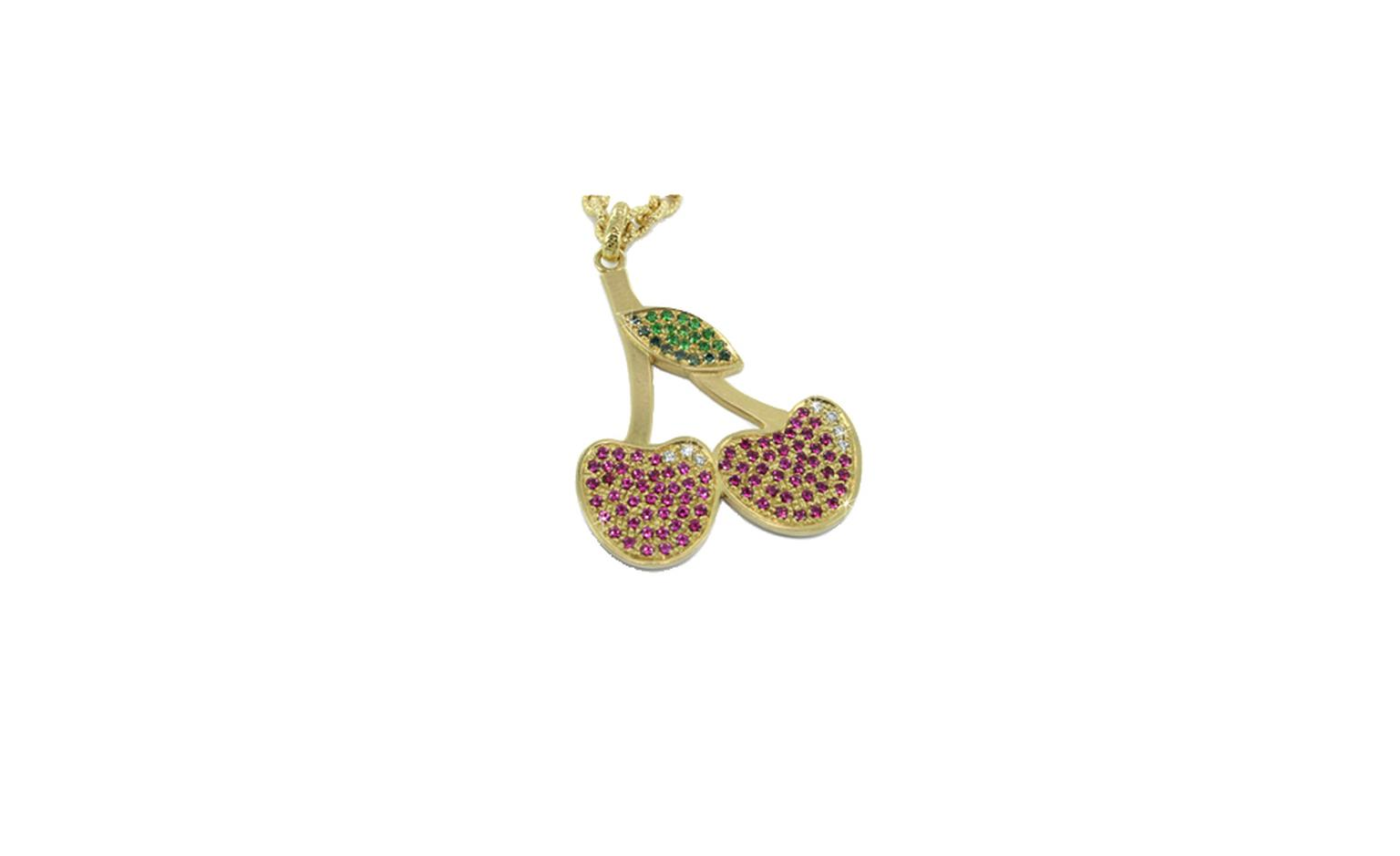 Carolina Bucci, Cherry pendant, yellow gold with rubies, sapphires, diamonds and emeralds £2,825