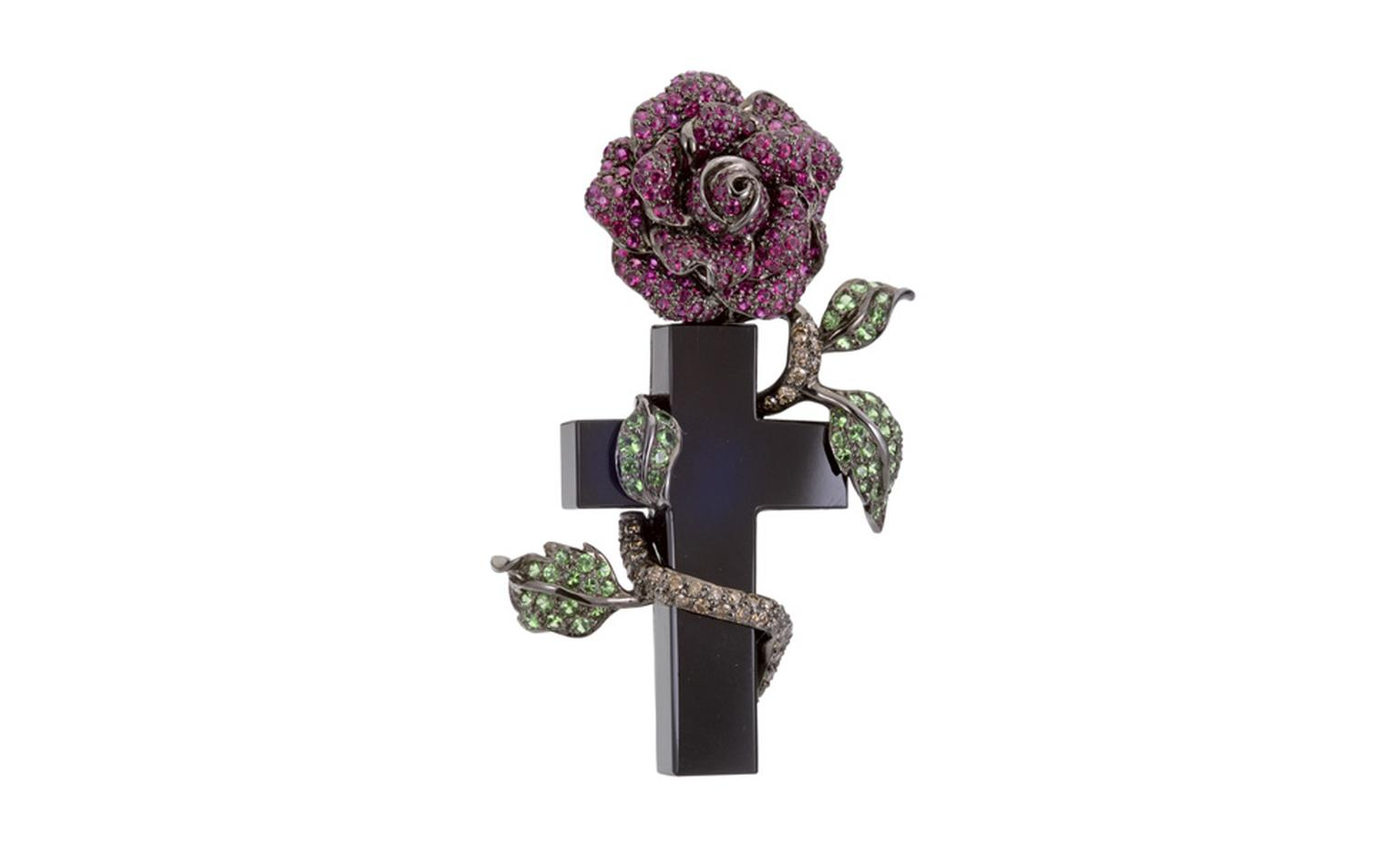 Lydia Courteille, The Cross ring is in onyx, garnets and blackened gold POA