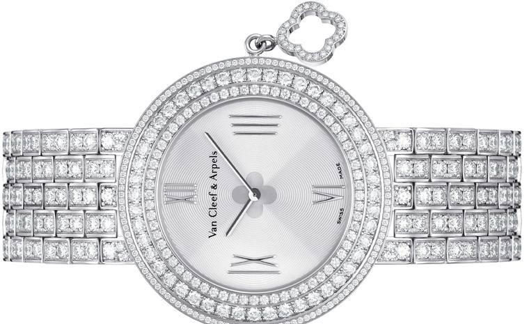 Van Cleef & Arpels Charms watch in white gold with diamond-set bezel and bracelet