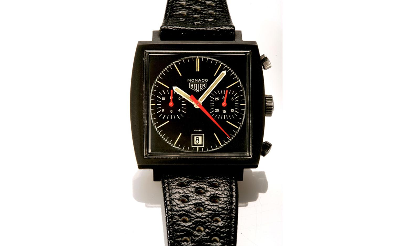 Bonham's Lot 98 was the highest price achieved at the auction. The rare 1974 Heuer Monaco with a black PVD coating sold for £48,000 though estimate was between £10,000 and £15,000